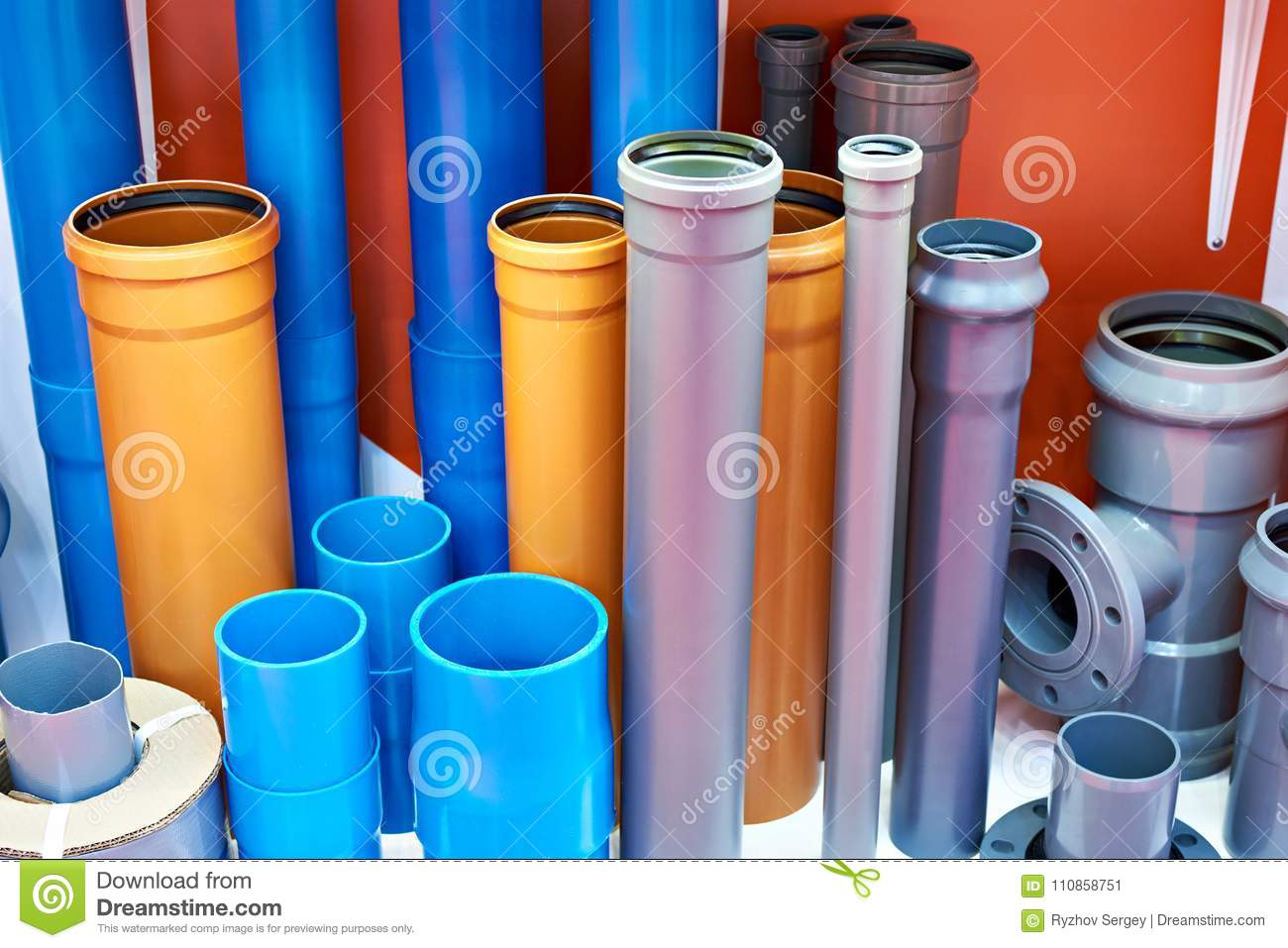 Pvc Chimney Systems : Plastic pipes for sewer systems stock image of