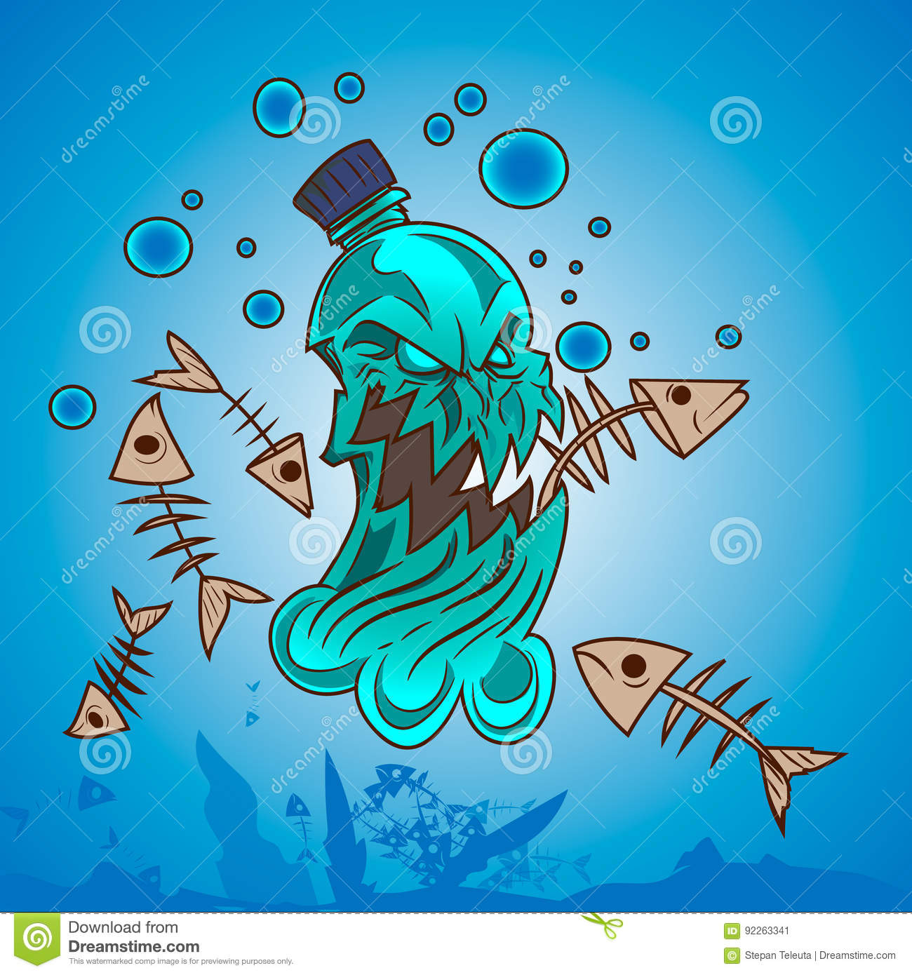 Plastic Pollution In Ocean Stock Vector Illustration Of