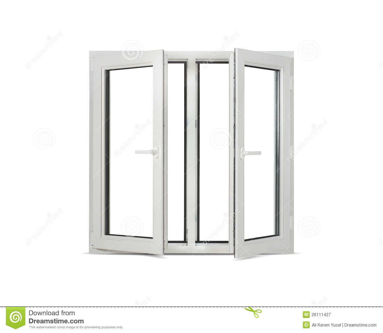 Plastic pvc window on white blank background stock image for Window plastic