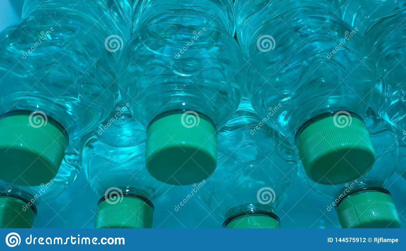 Plastic recyclable water bottles closeup