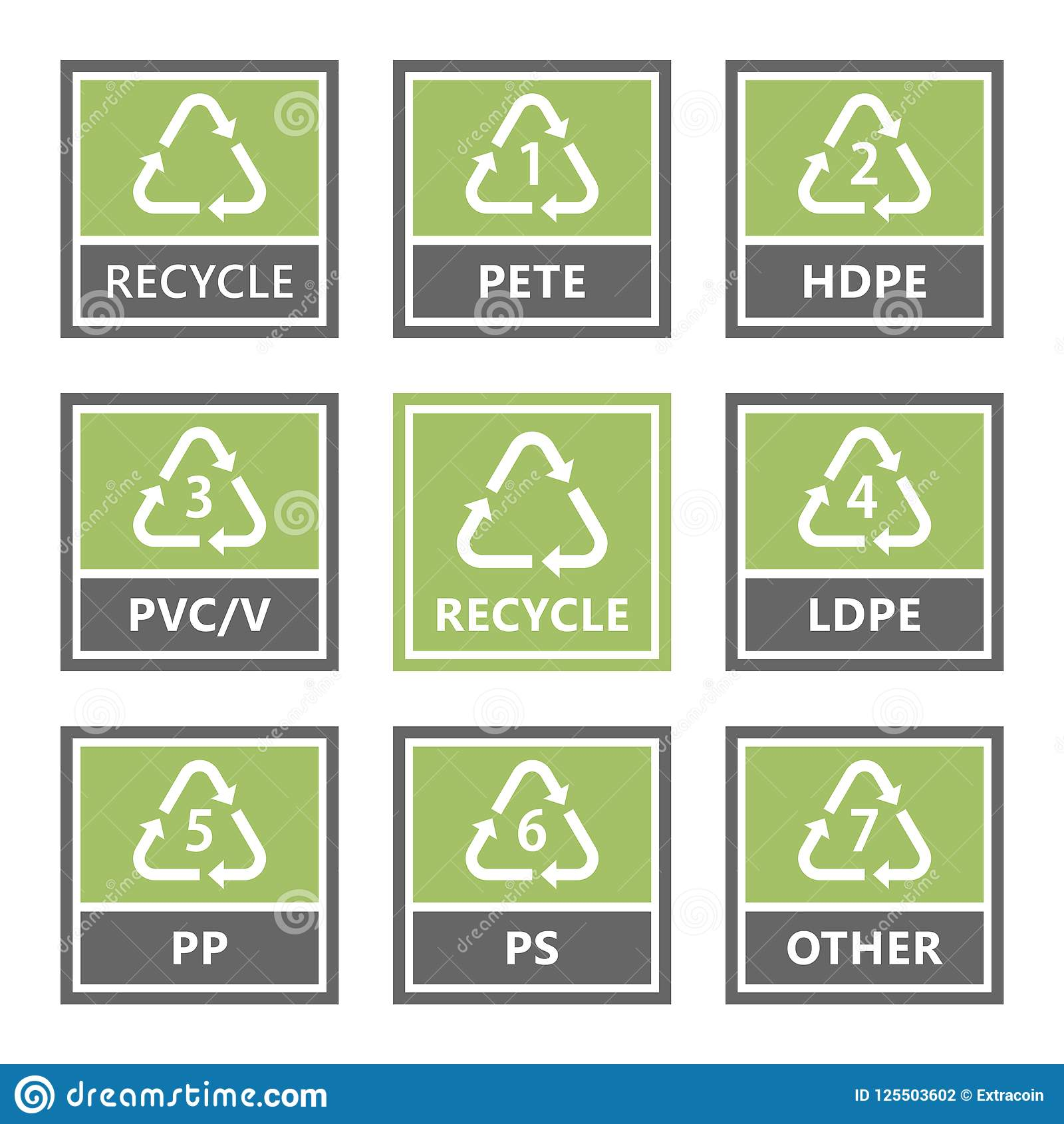 Plastic Recycling Symbols And Icons Vector Illustration Stock