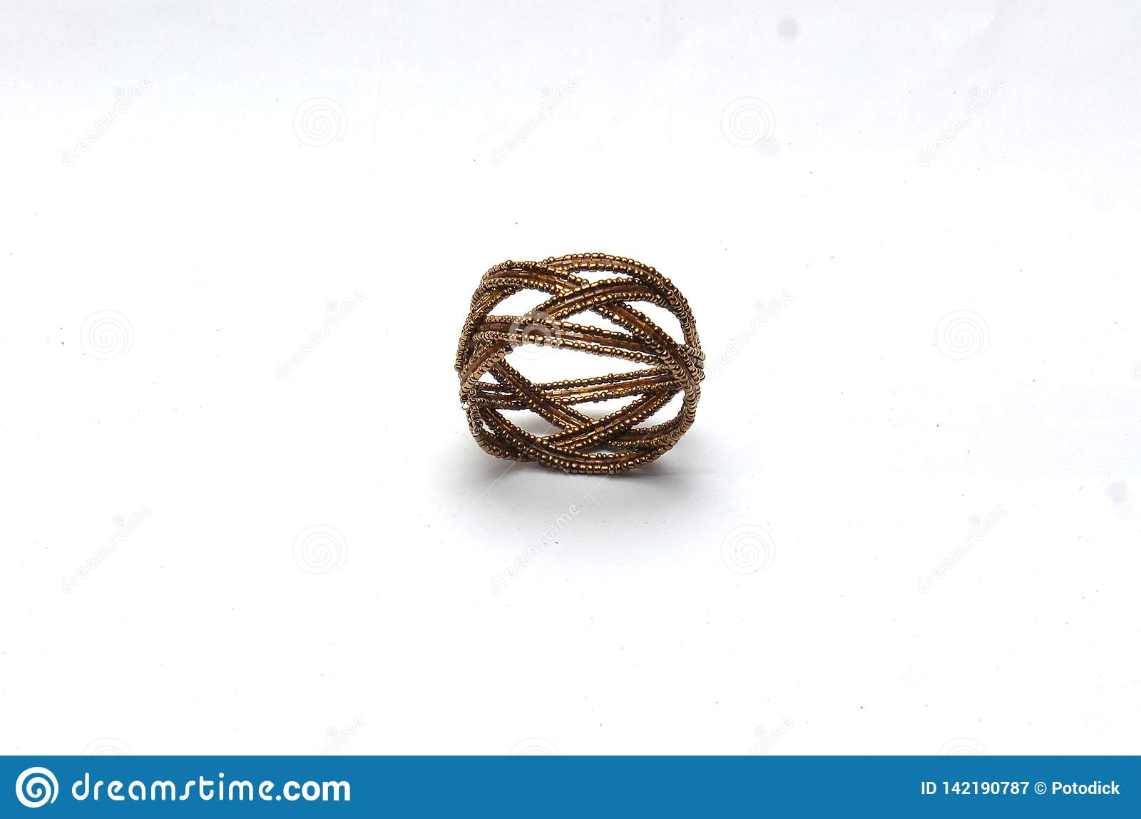 Plastic rings and bracelets in the chain of dark brown