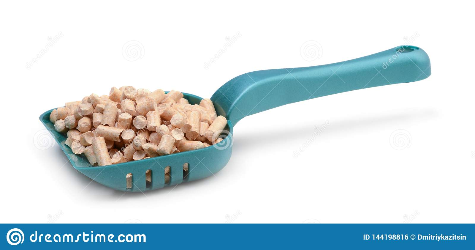 Plastic scoob with cat litter isolated on white background