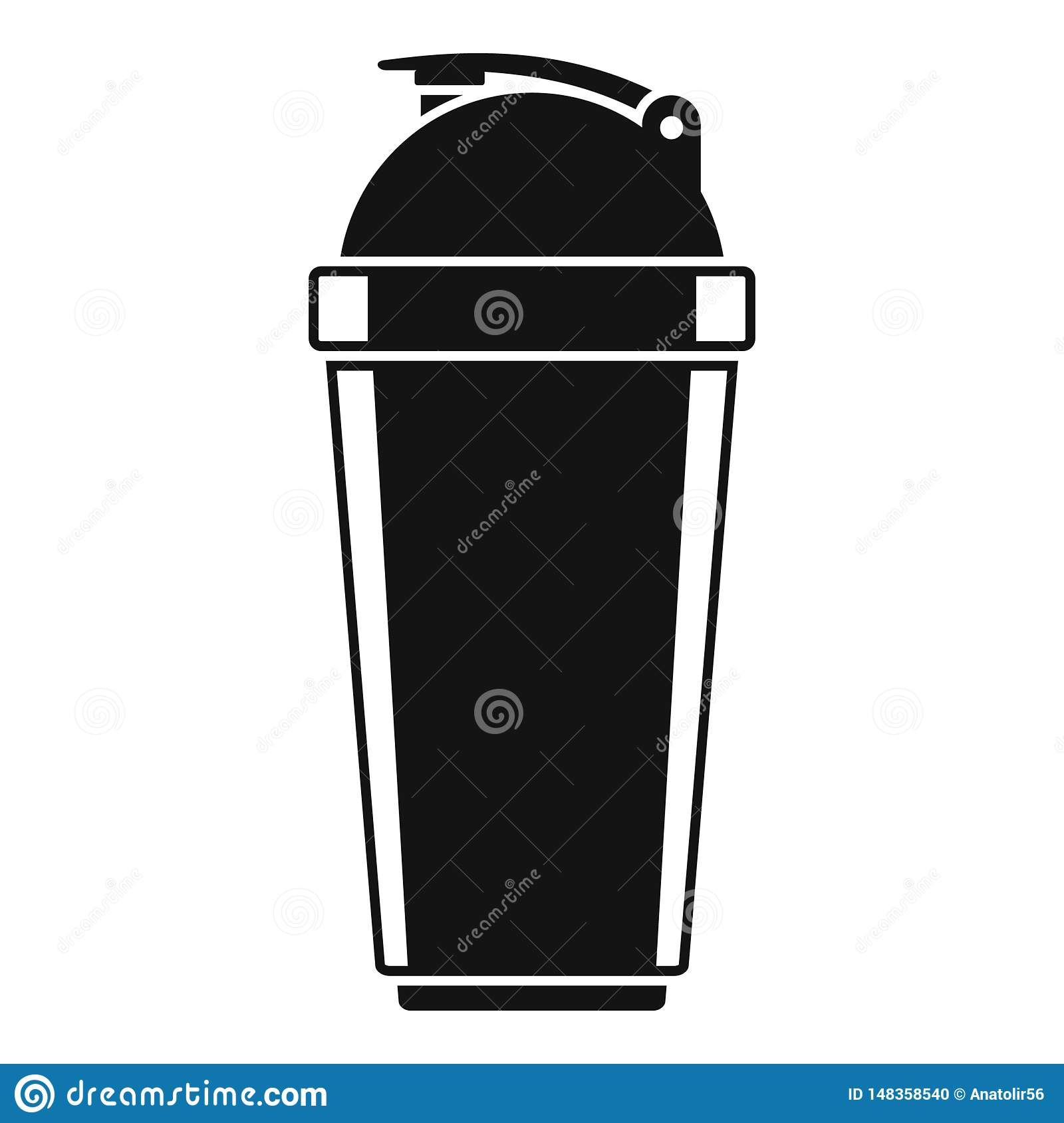 Plastic shaker bottle icon, simple style