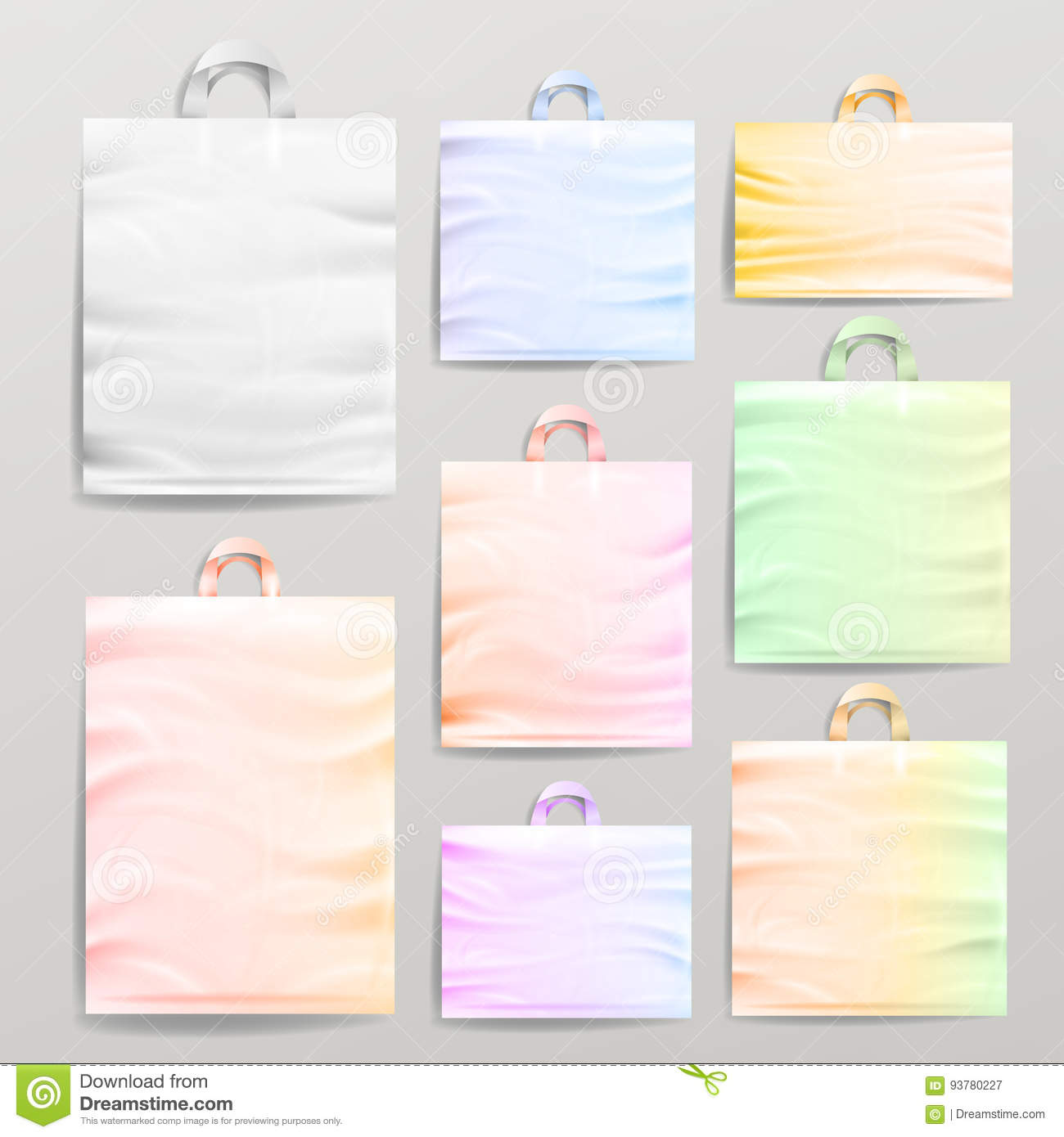 Plastic Shopping Realistic Bags Set With Handles. Colorful Empty Reusable Close Up Mock Up. Vector Illustration