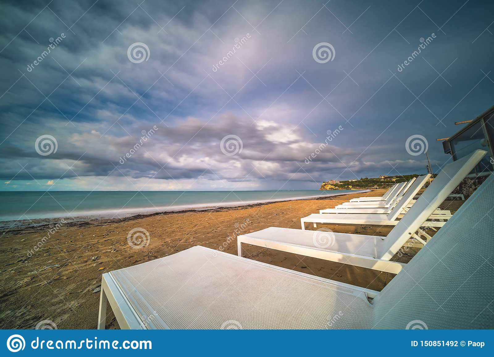 Plastic sunbeds on Tsilivi beach in Zante Island