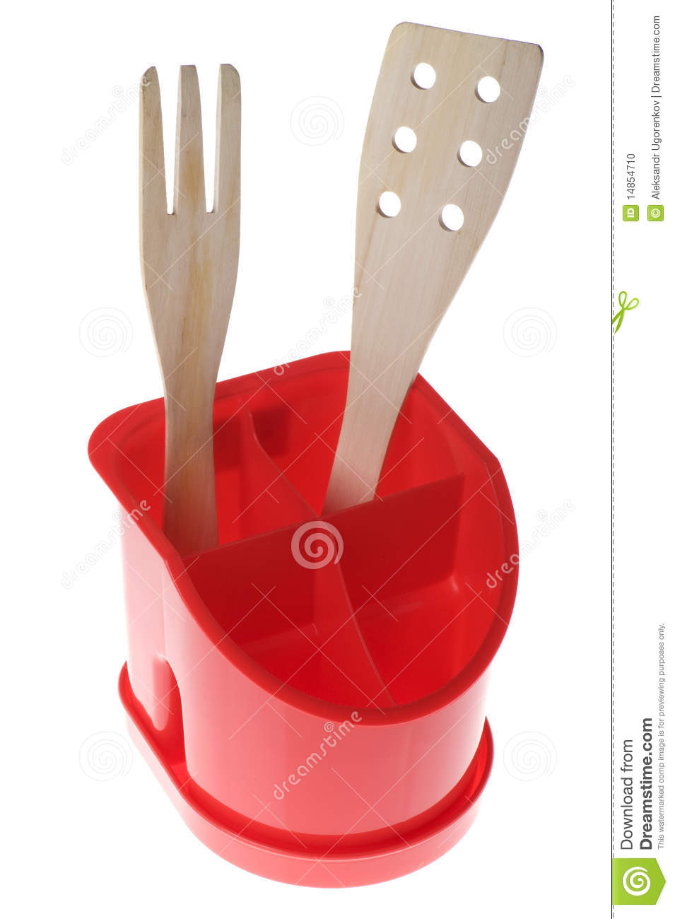 Plastic support for kitchen utensil