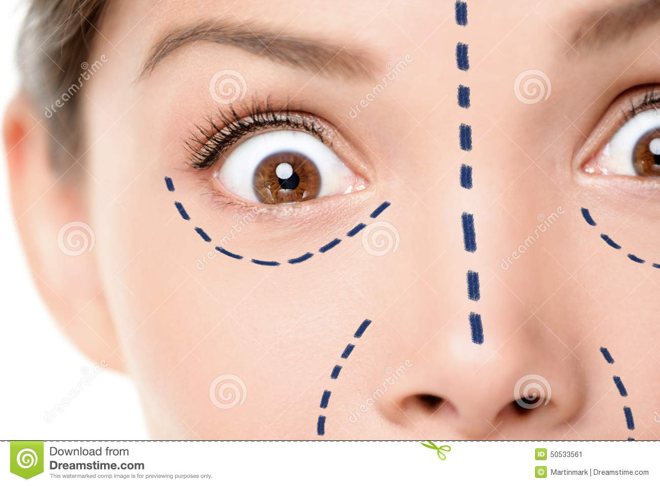 Plastic surgery concept - funny face scared woman