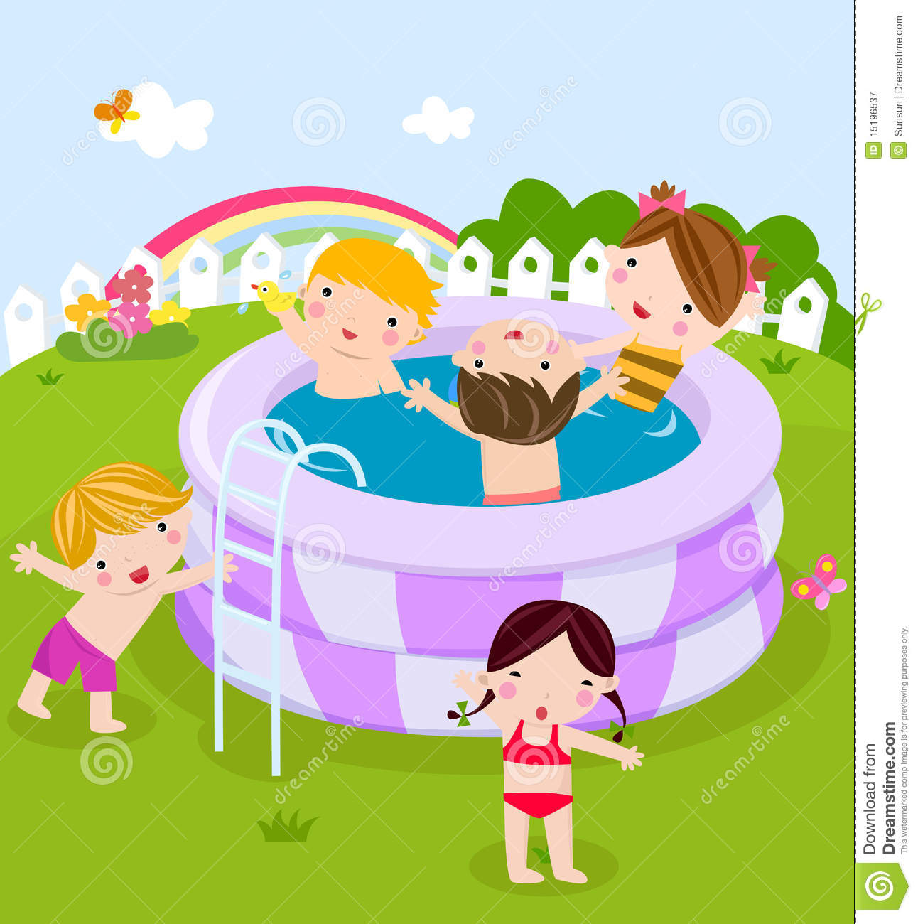 Plastic Swimming Pool With Kids Stock Vector ...