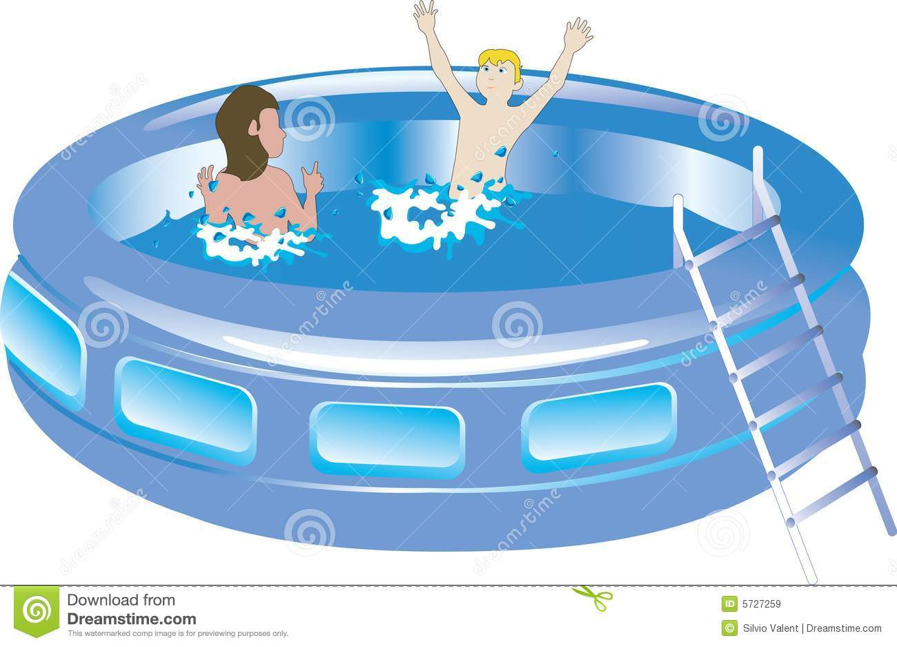 Plastic Swimming Pool With Kids Stock Vector Image 5727259