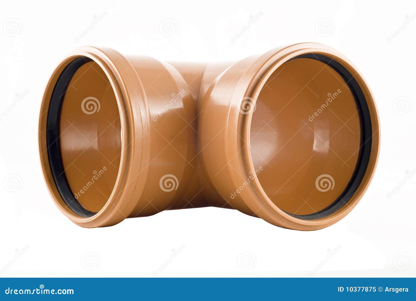 Plastic T-shaped Sewer Tube Isolated Stock Image - Image