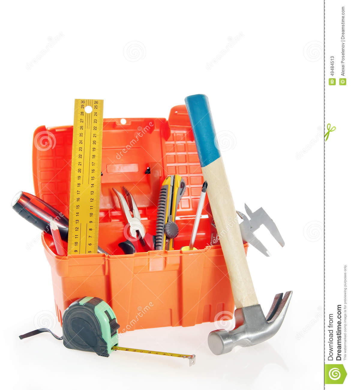 Plastic Toy Tools : Set of plastic toy tools for children in a line on