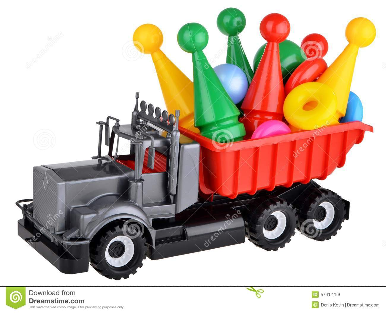 Plastic toy truck with bowling