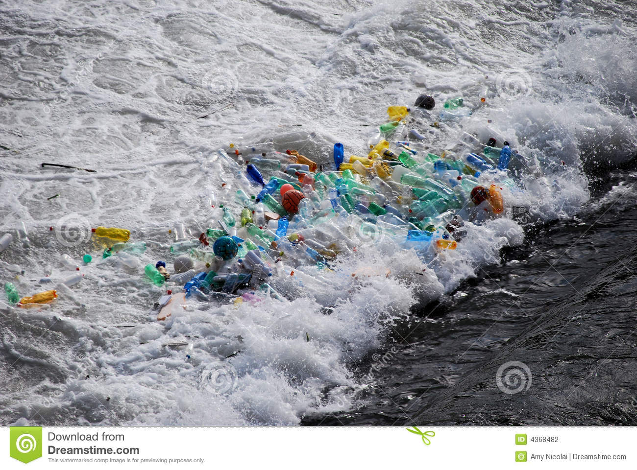 Plastic Trash Trapped At Waterfall Stock Photography Image 4368482