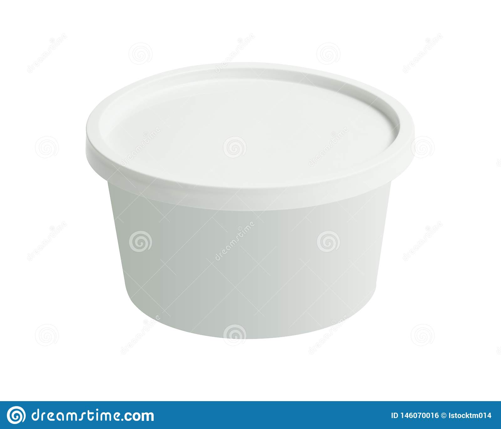 Plastic tub bucket container isolated on white background. Blank cup with cover template. Clipping path