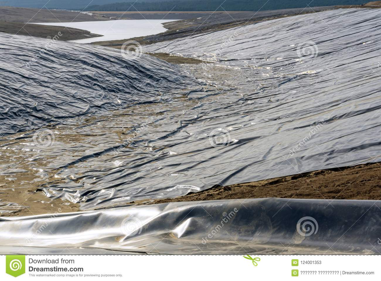 Waterproofing Of A Reservoir For Waste Storage Stock Image - Image