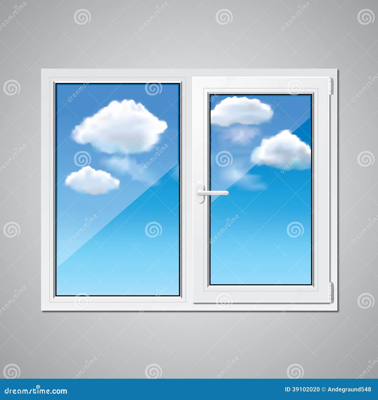 Plastic venster en blauwe hemelillustratie