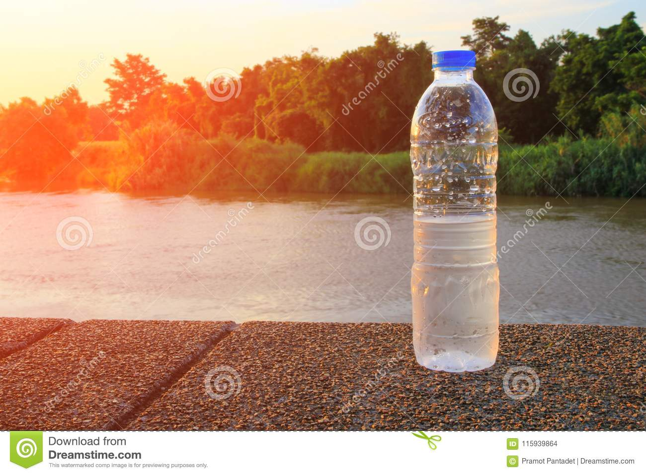 Plastic water bottle on the stone floor in a public park at sunset, sunrise time