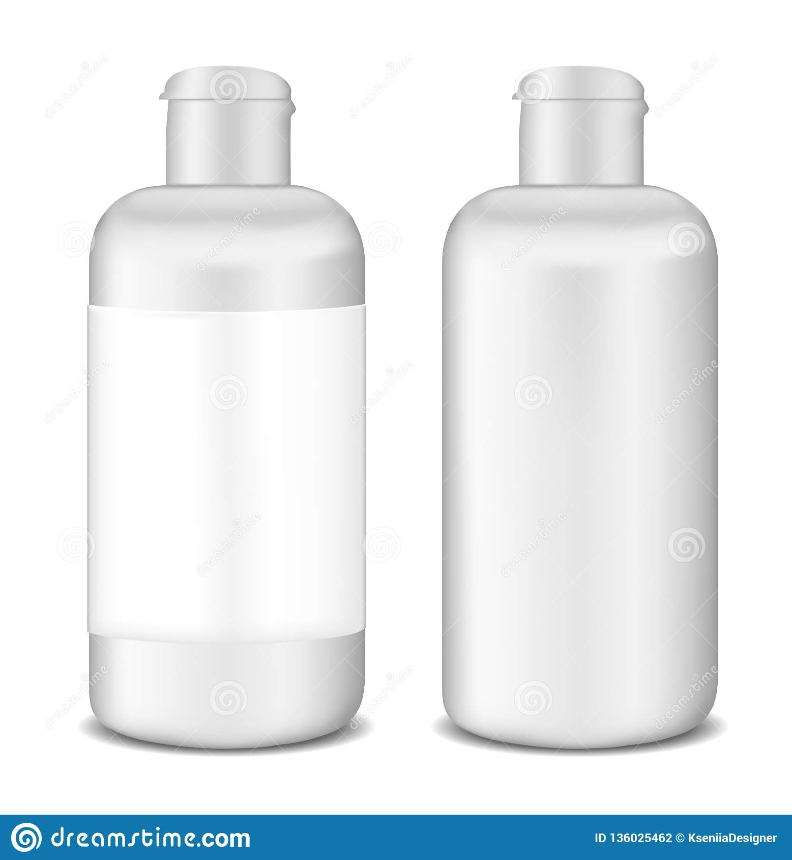 Plastic white lotion bottle template