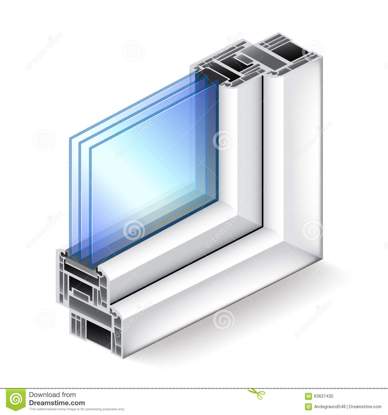 Plastic window in cut on white vector stock vector image for Window plastic