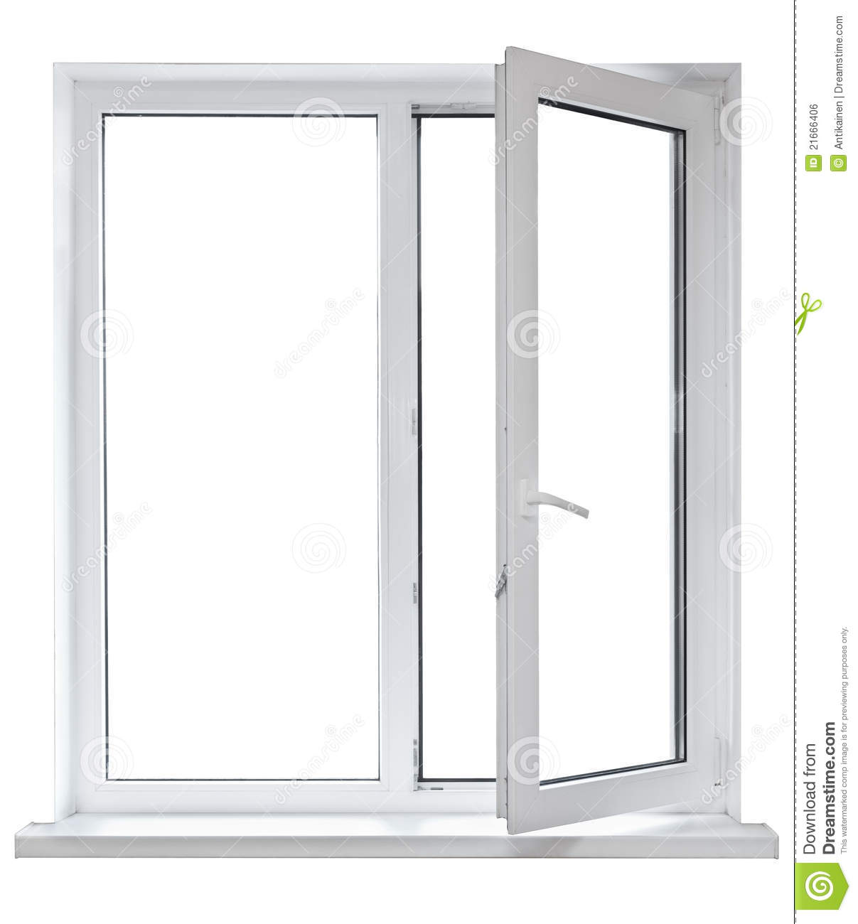 Plastic window with opened door stock photo image 21666406 for Window plastic