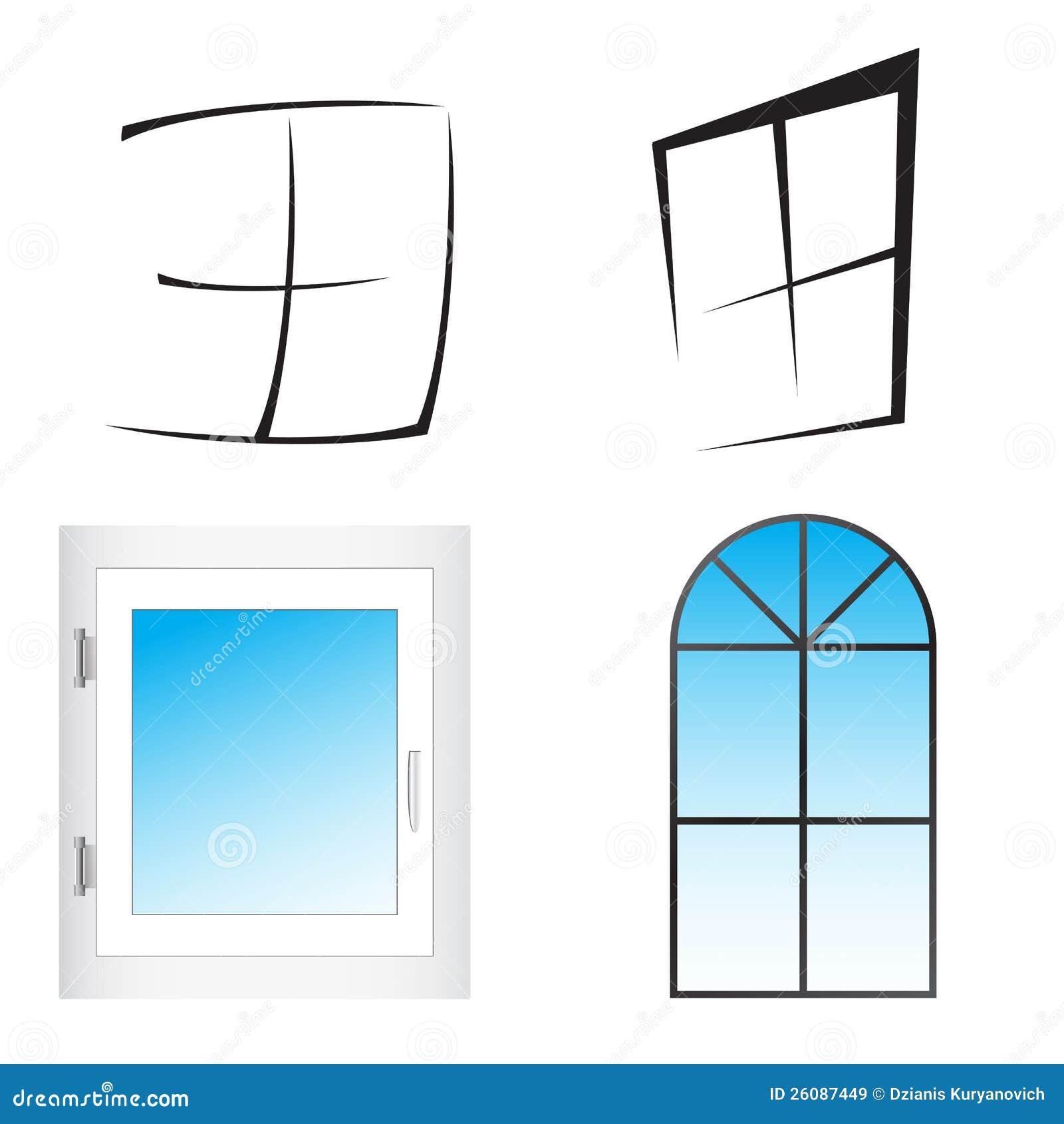Plastic window vector illustration stock vector image for Window design vector