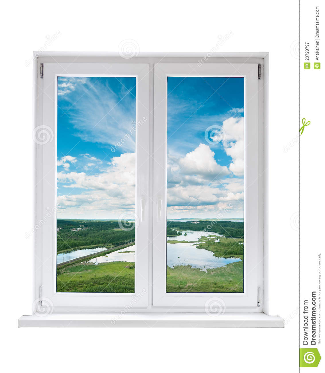 Plastic window with view to landscape royalty free stock for Window plastic