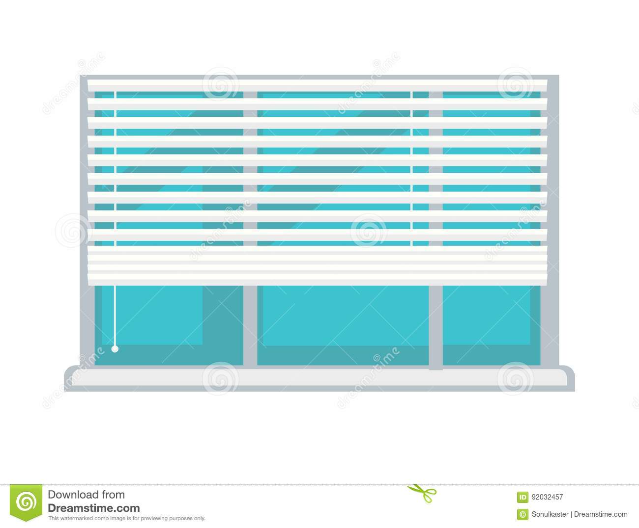 Plastic window with white half mast blinds isolated for Window plastic