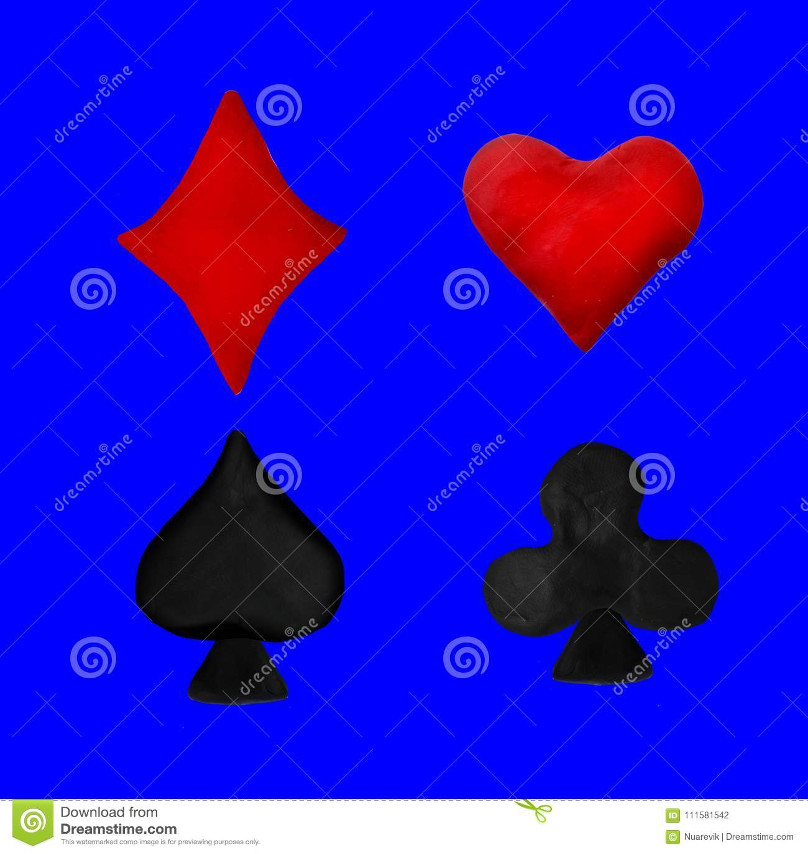 Plasticine Card Deck Symbols Cartoon Sculpture 3d Rendering Isolated