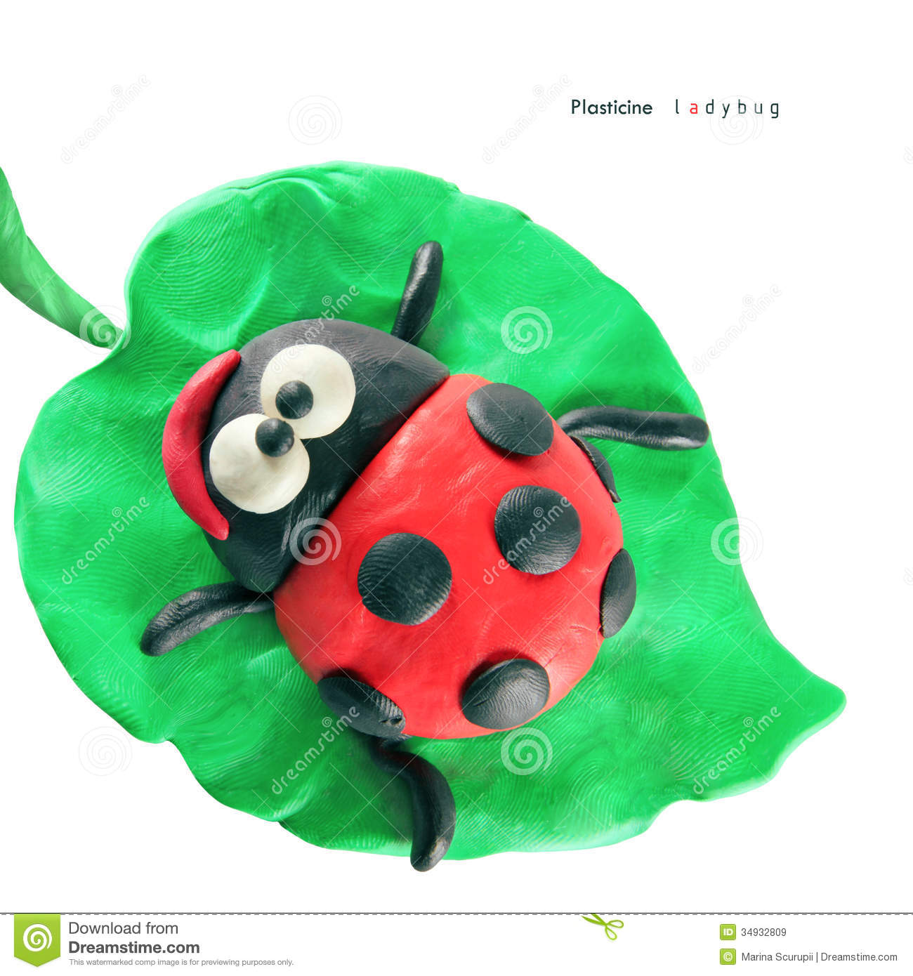 Plasticine Cartoon Ladybug Royalty Free Stock Images