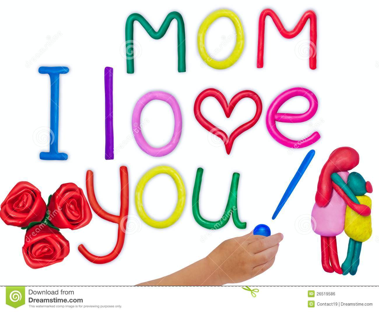 Plasticine Kids Love Message For Mother Royalty Free Stock Image - Image...