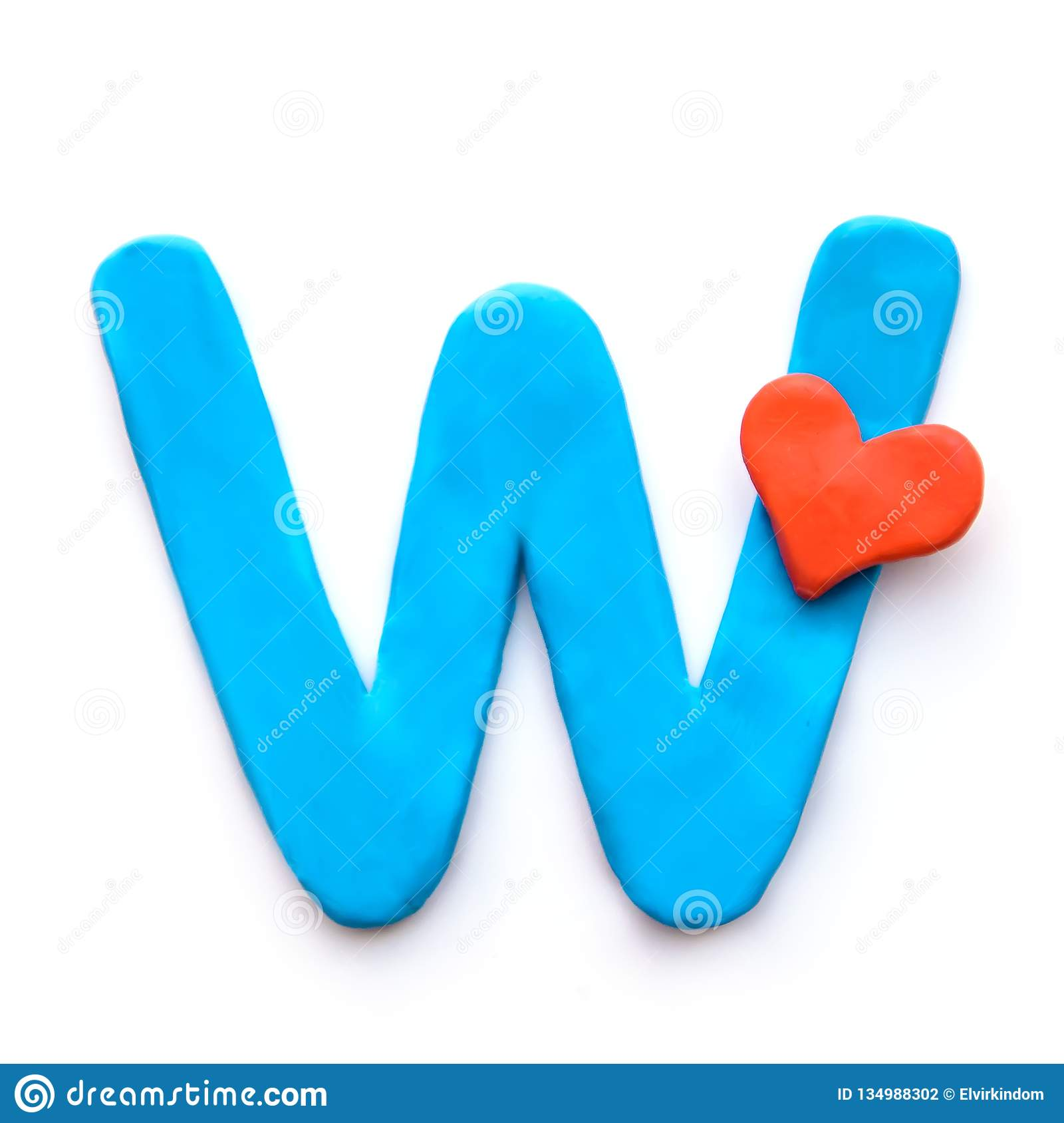 Plasticine Letter W Of The English Alphabet Stock Photo
