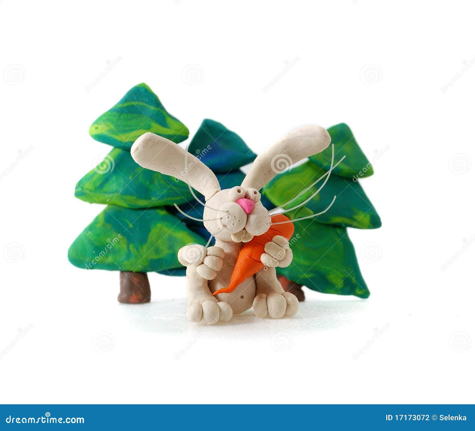 Plasticine rabbit.