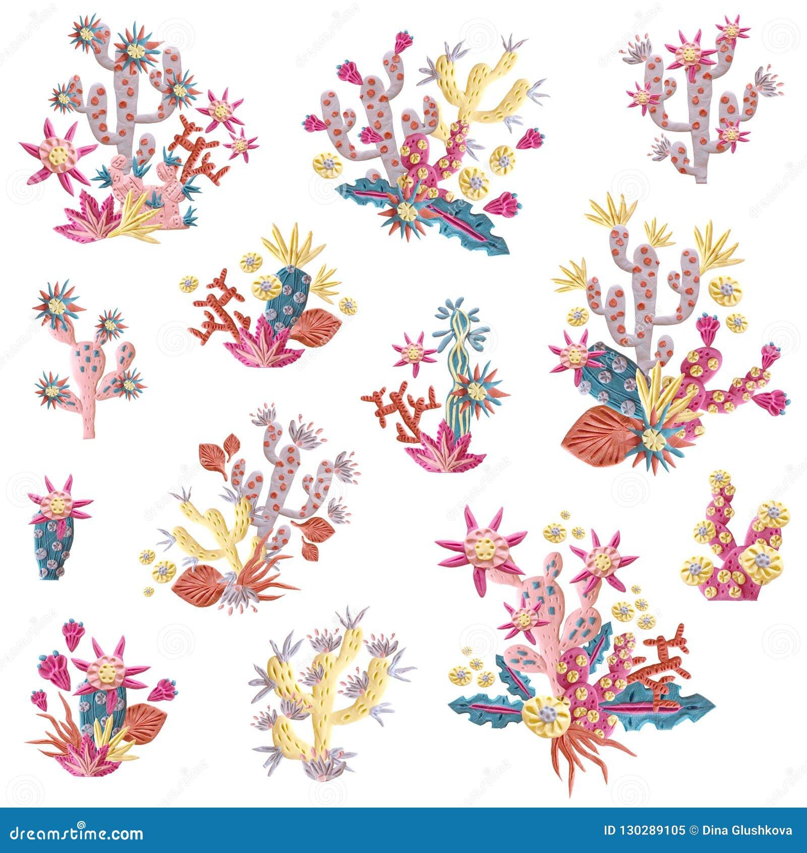 Plasticine succulent met bloemenillustratie Boeketten en arr