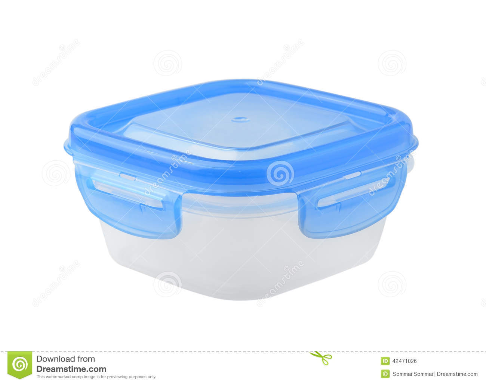 Plastiklebensmittelkasten auf weißem Hintergrund
