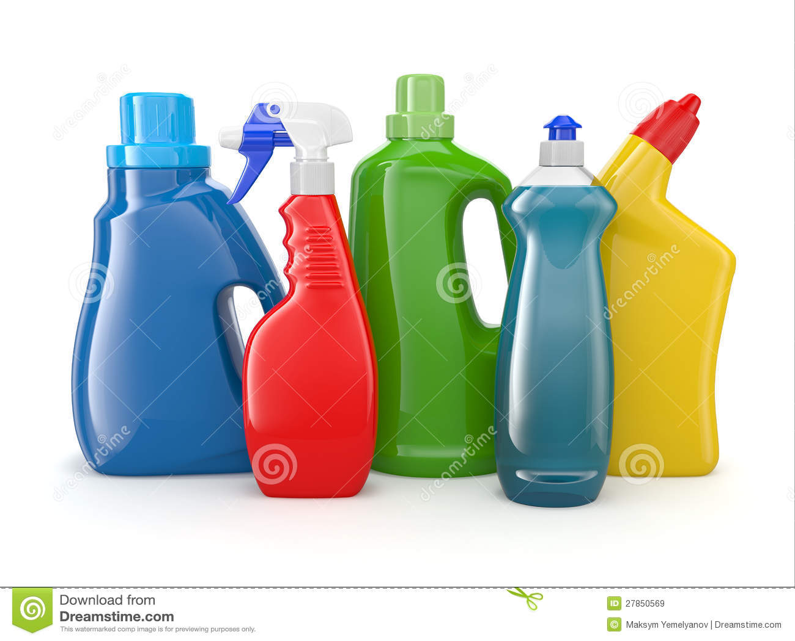 Plastikowe detergentowe butelki. Cleaning produkty.