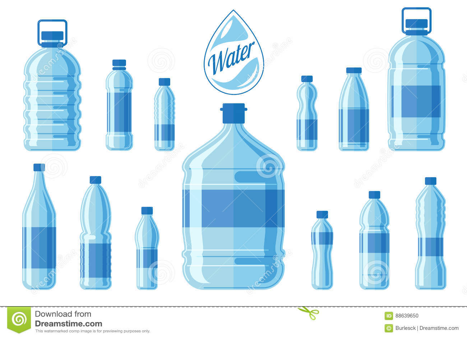 Plastikowy bidon ustawiający odizolowywającym na białym tle Zdrowy agua butelkuje wektorową ilustrację
