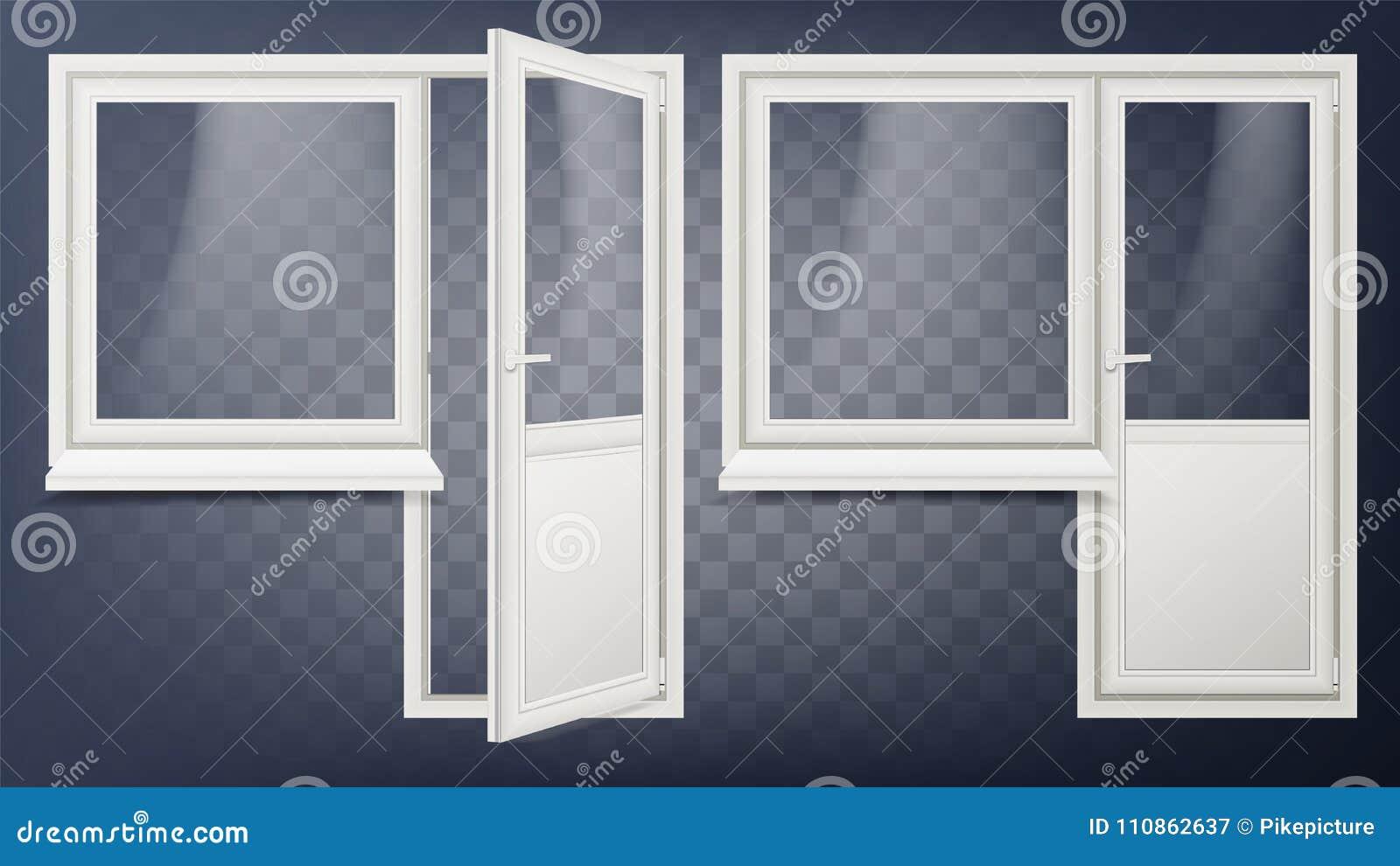 Plastikowy Drzwiowy wektor Domowy Wewnętrzny drzwi I okno Rozpieczętowany i Zamknięty Plastikowy Szklany drzwi oszczędzanie energ