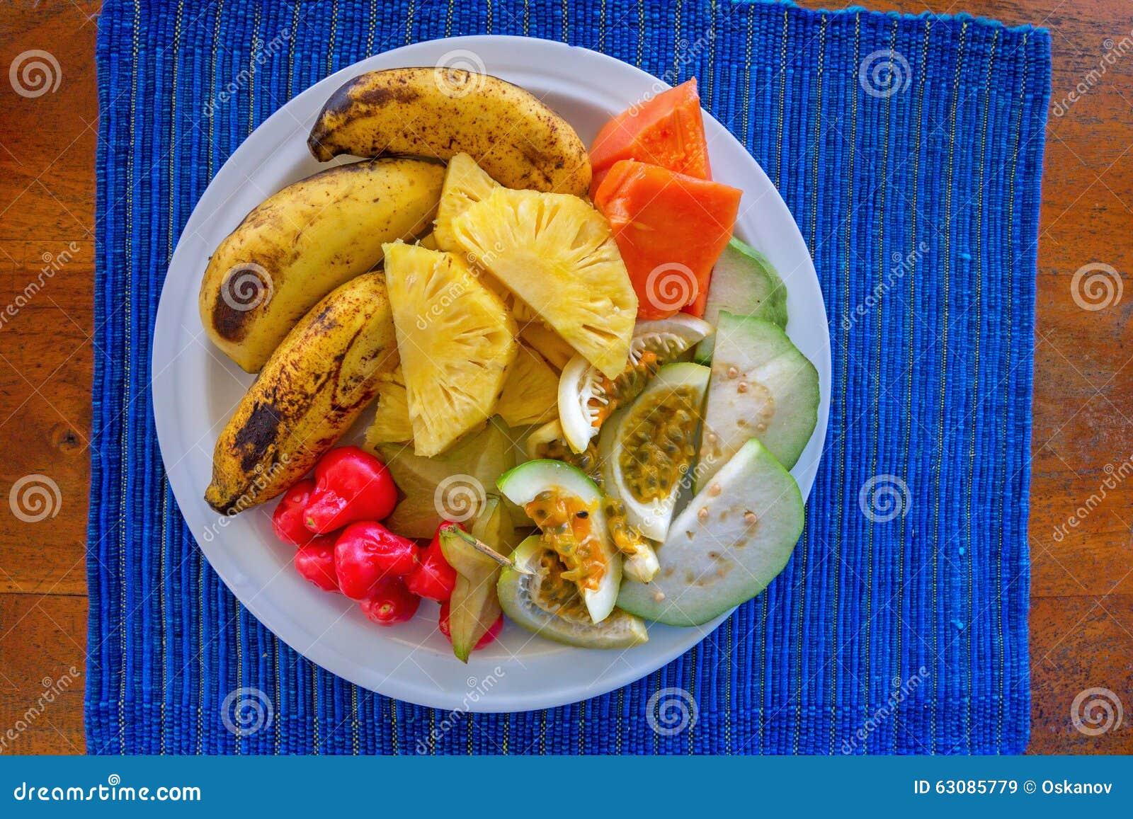 Download Plat Avec Les Friuts Exotiques Image stock - Image du tropical, sain: 63085779