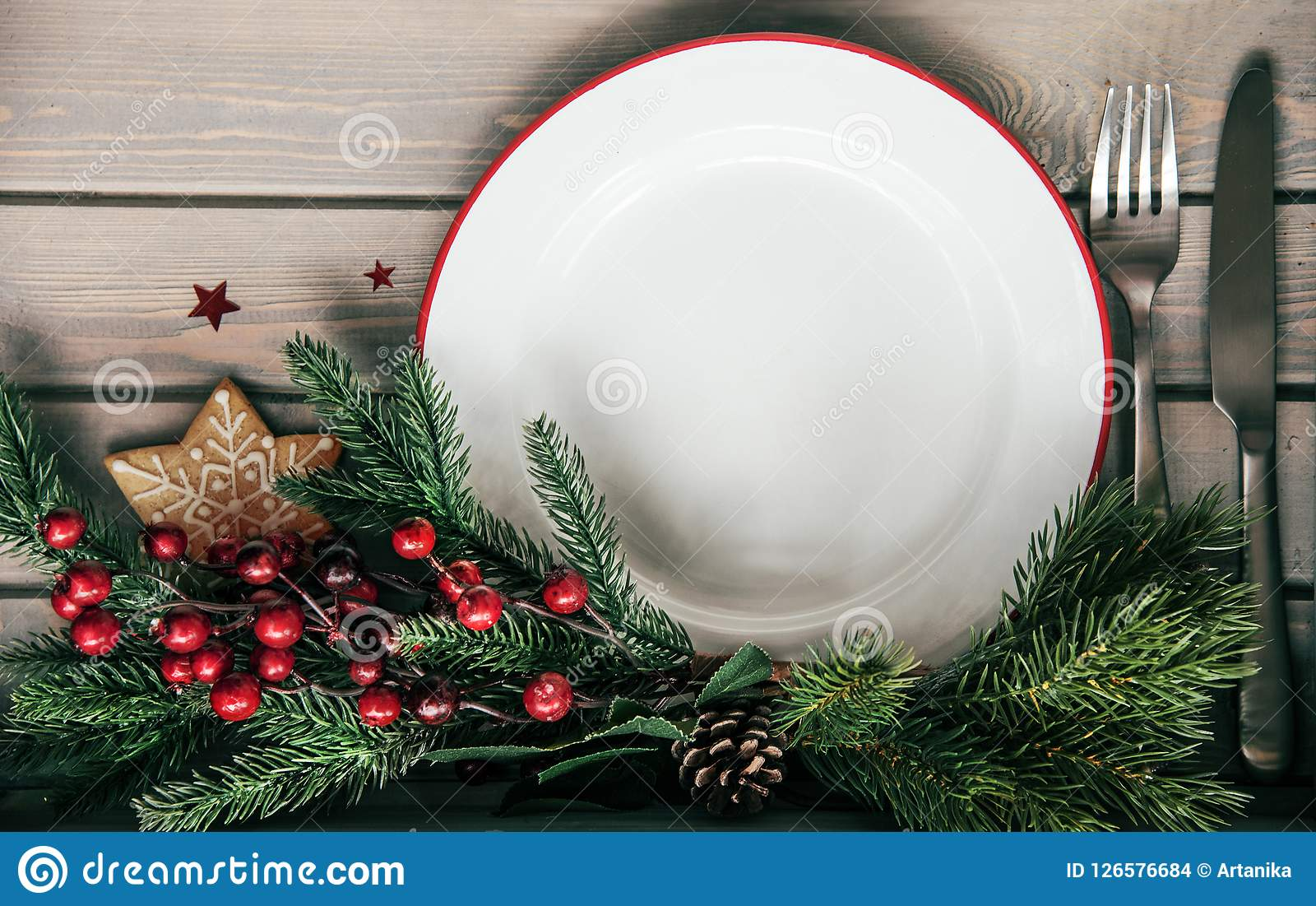 Plat de dîner de Noël