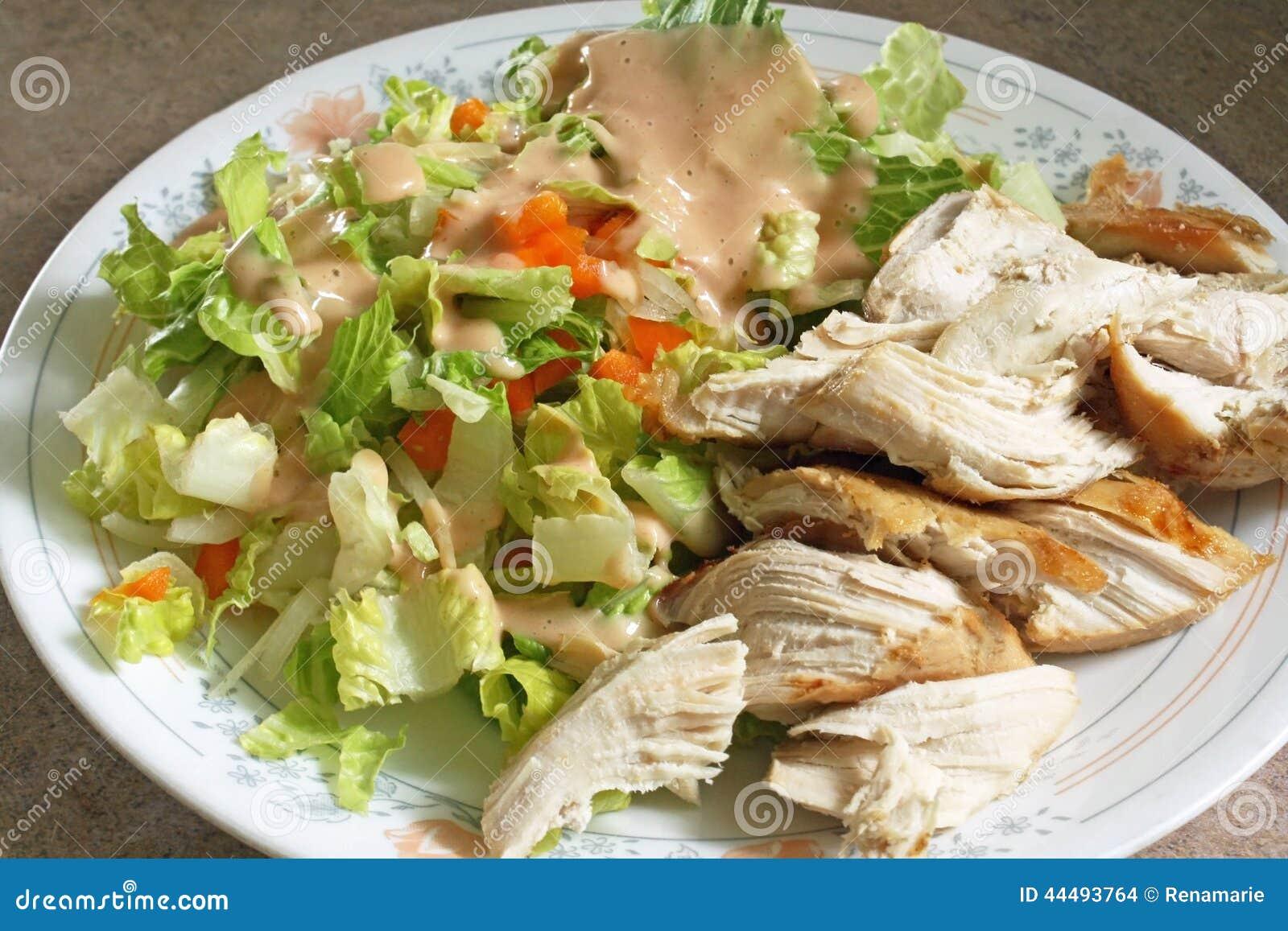 plat de r gime de poulet et de salade photo stock image 44493764. Black Bedroom Furniture Sets. Home Design Ideas