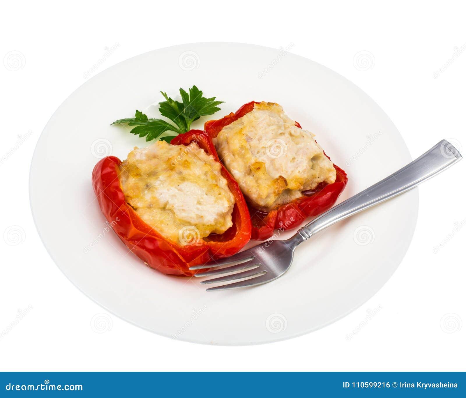 Plat diététique de protéine Poivre bulgare bourré de la viande
