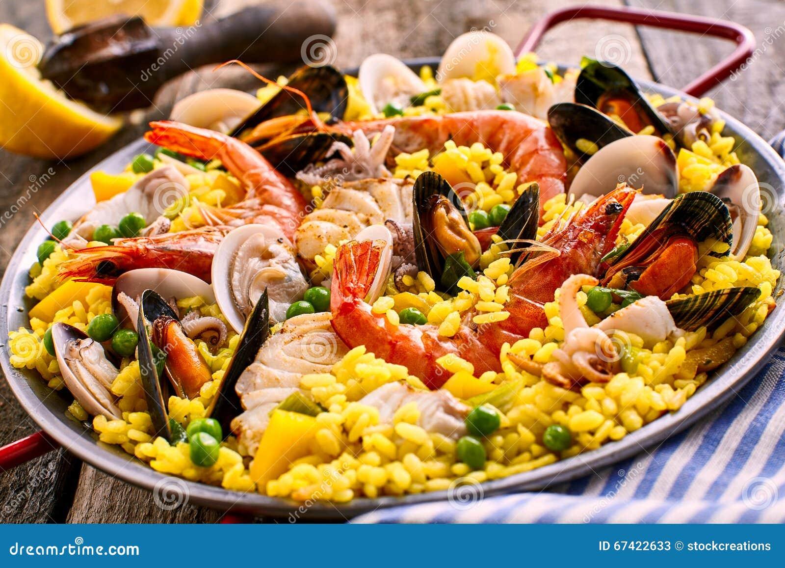 plat espagnol frais et color de paella de fruits de mer image stock image du recette pois. Black Bedroom Furniture Sets. Home Design Ideas