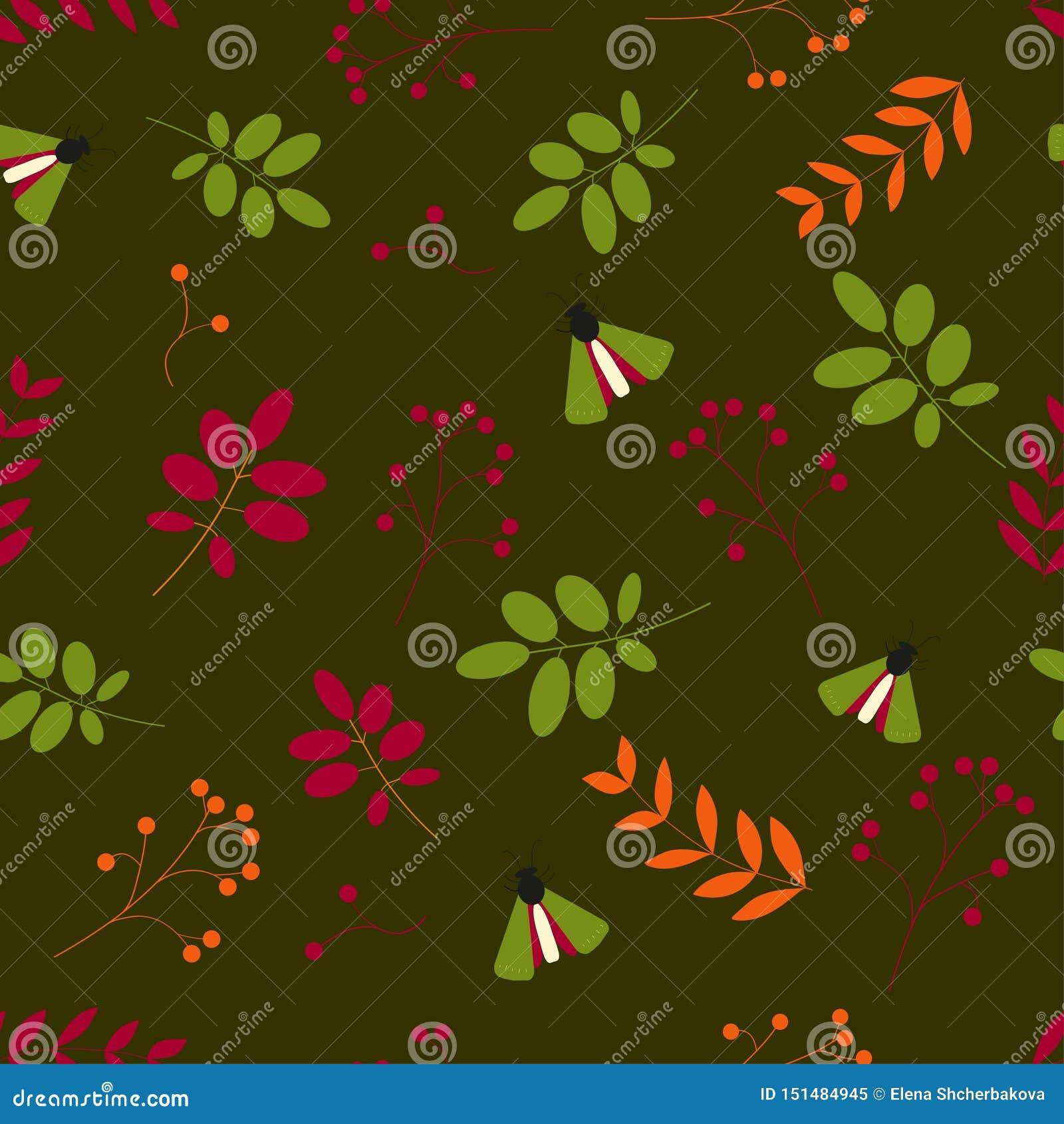 Plat Modèle sans couture : feuilles, baies, insectes, nous fond vert