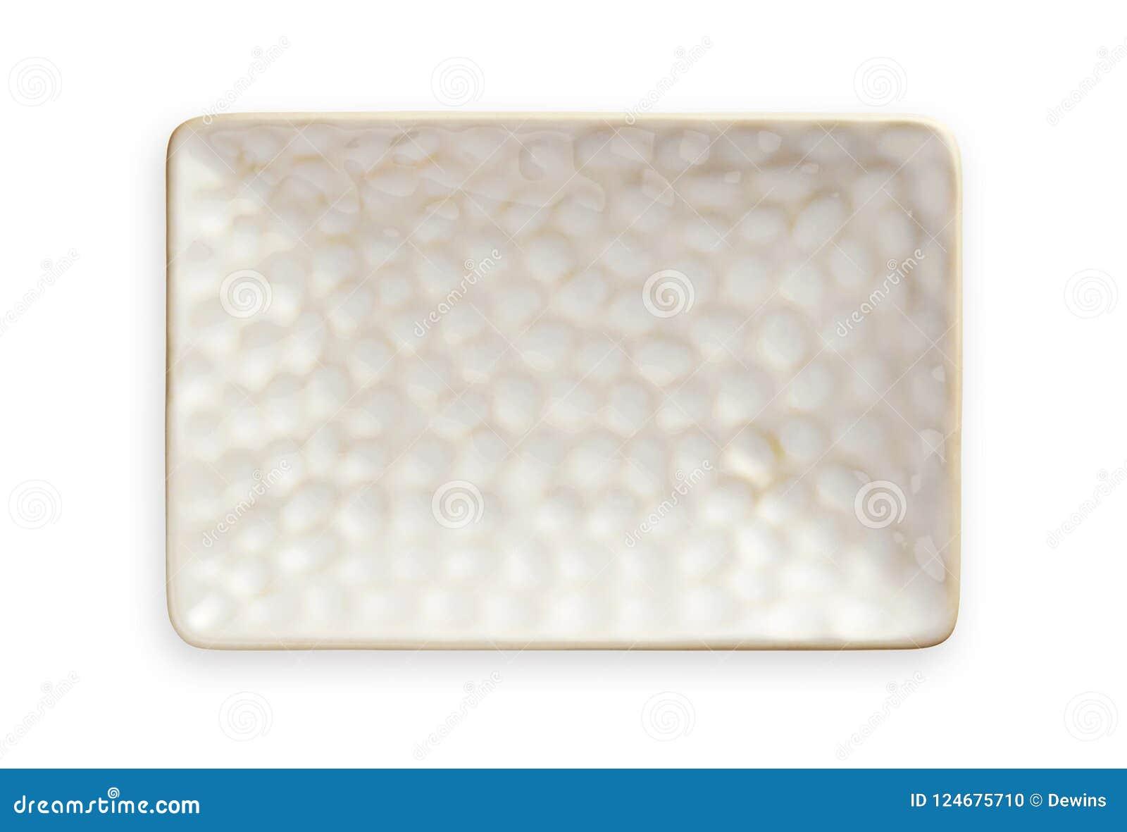 Plat rectangulaire blanc avec le modèle approximatif, plat en céramique vide dans la forme rectangulaire, vue d en haut d isoleme