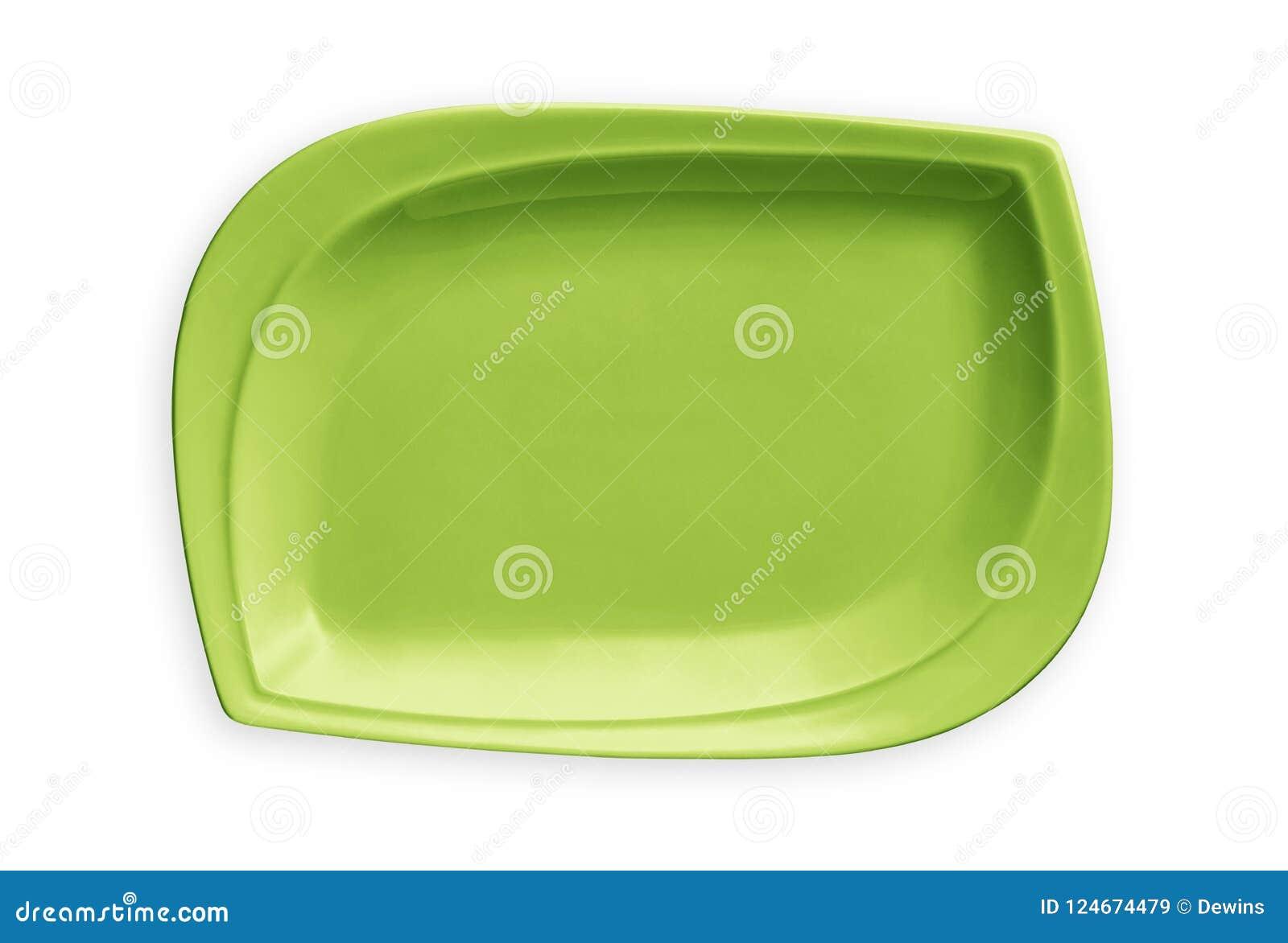 Plat rectangulaire vide, plat vert exotique, vue d en haut d isolement sur le fond blanc avec le chemin de coupure
