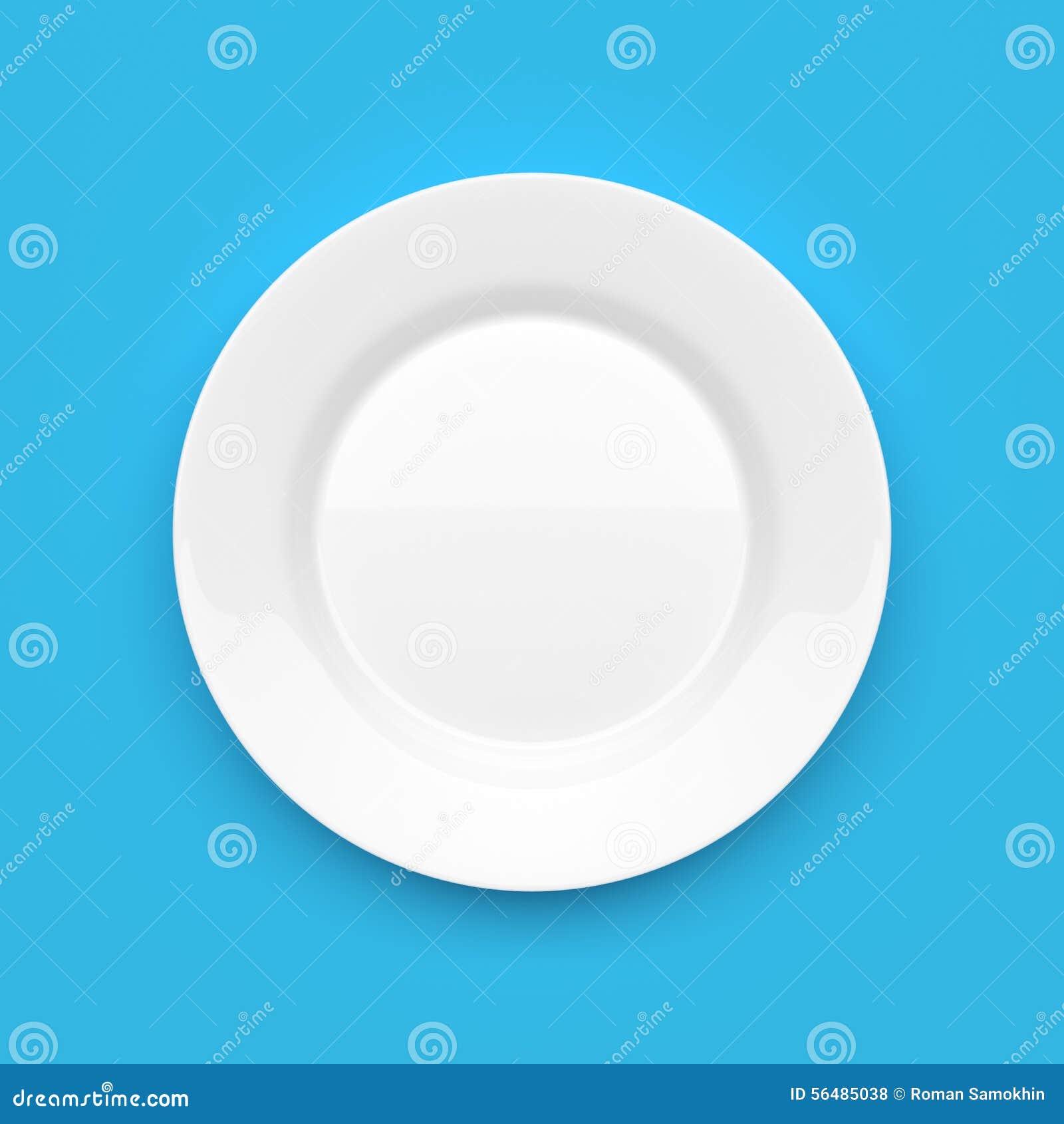 Plat rond en céramique blanc vide sur le bleu