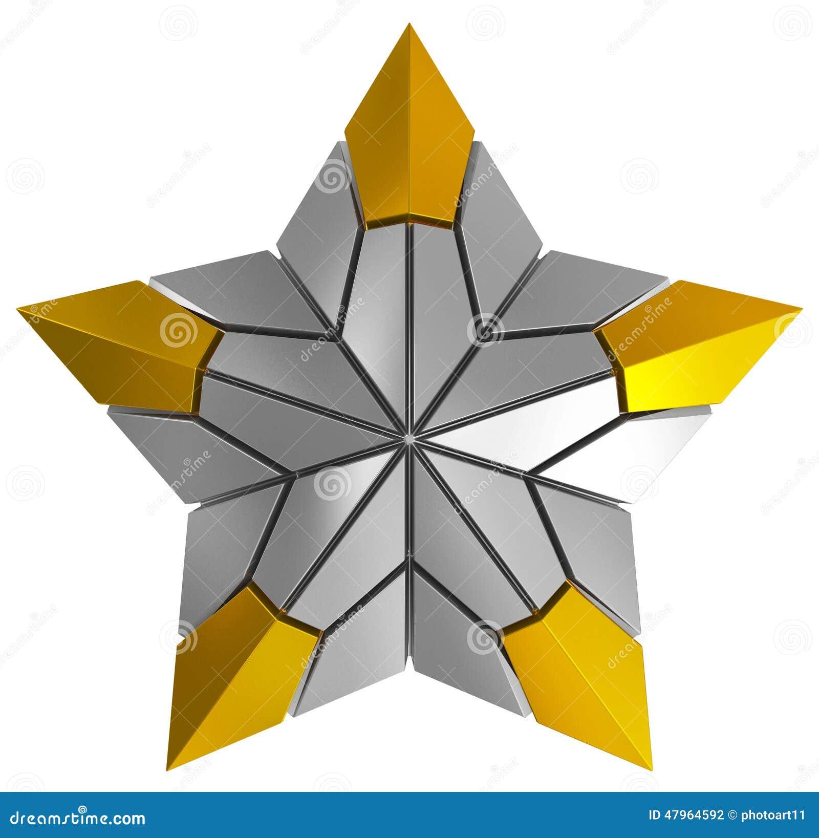 Plata de la estrella de la Navidad y 3d de oro aislados