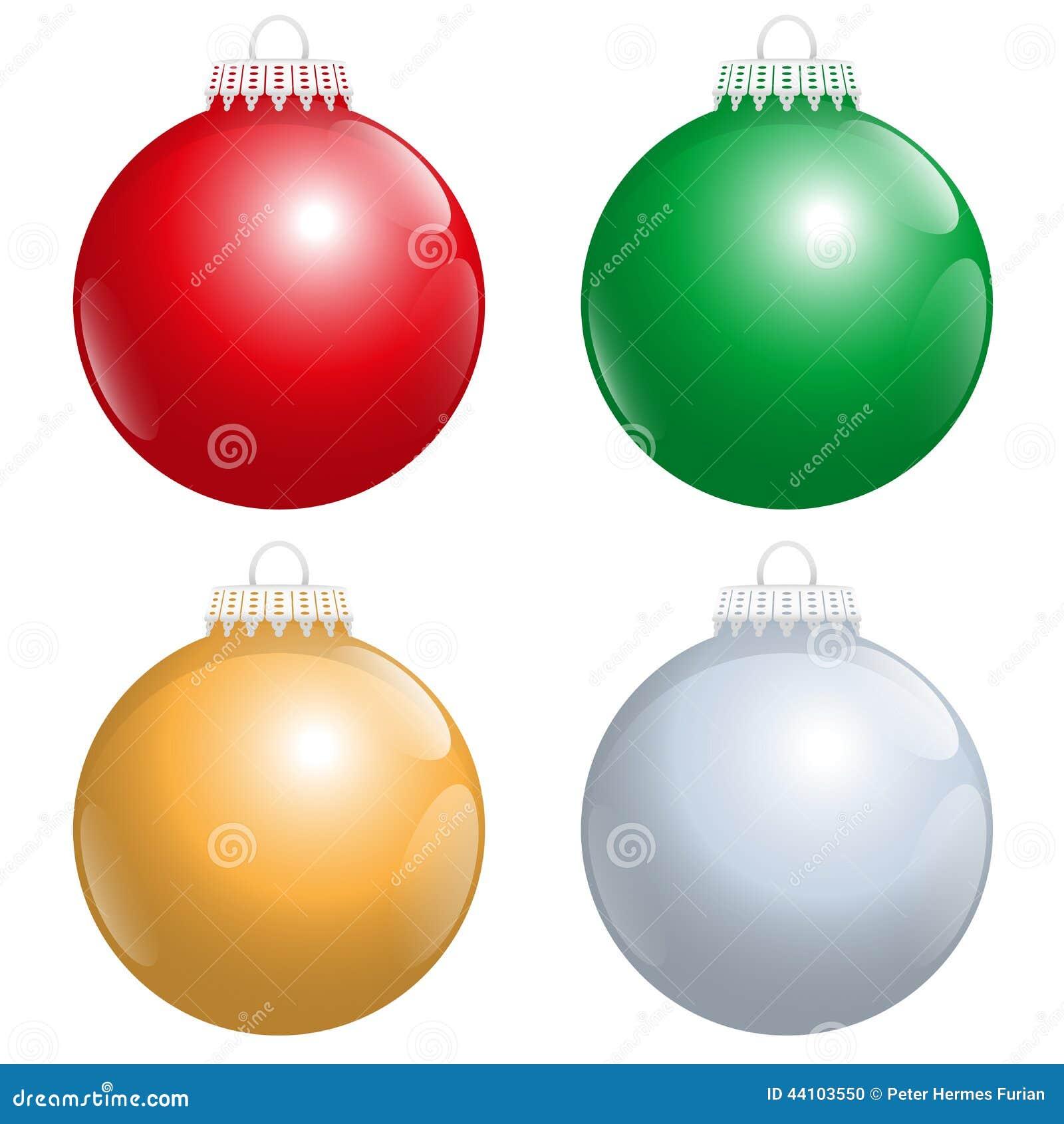 plata roja del oro verde de las bolas del rbol de navidad ilustracin del vector