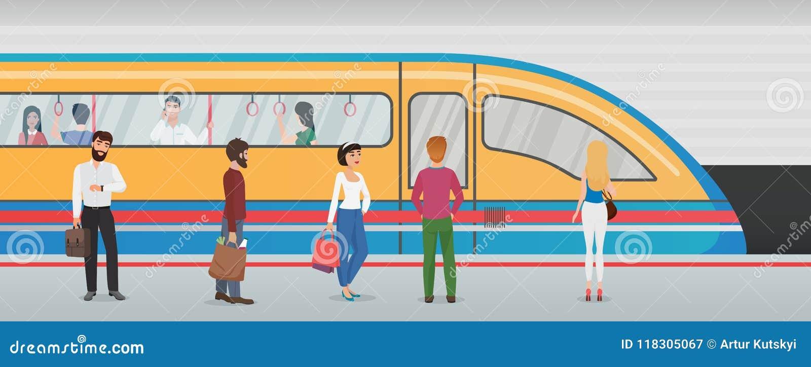 Plataforma do metro do metro com trem e povos na estação subterrânea Conceito urbano do vetor do metro com passageiros